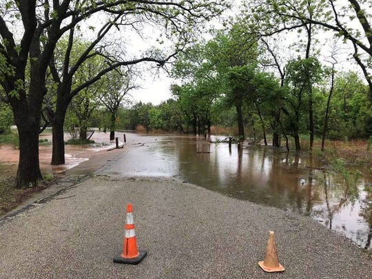 Due to flooding, the main road through Abilene State Park is closed on April 25, 2019.