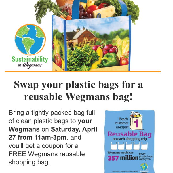 Wegmans will give out reusable bags if you bring plastic bags to the store April 27