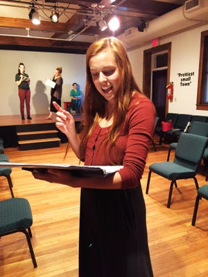 Candice Dickinson directs a rehearsal of As It Is In Heaven by Arlene Hutton at the Front Porch Theatre at the Black Mountain Center for the Arts. The play, about a Shaker community in 1830s Kentucky, opens May 10 and runs three weekends through  May 26