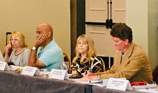 Brevard County Tourist Development Council members, from left, Debra Green, Harry Santiago, Anna Palermo and Giles Malone listen to the discussion at Wednesday's meeting.