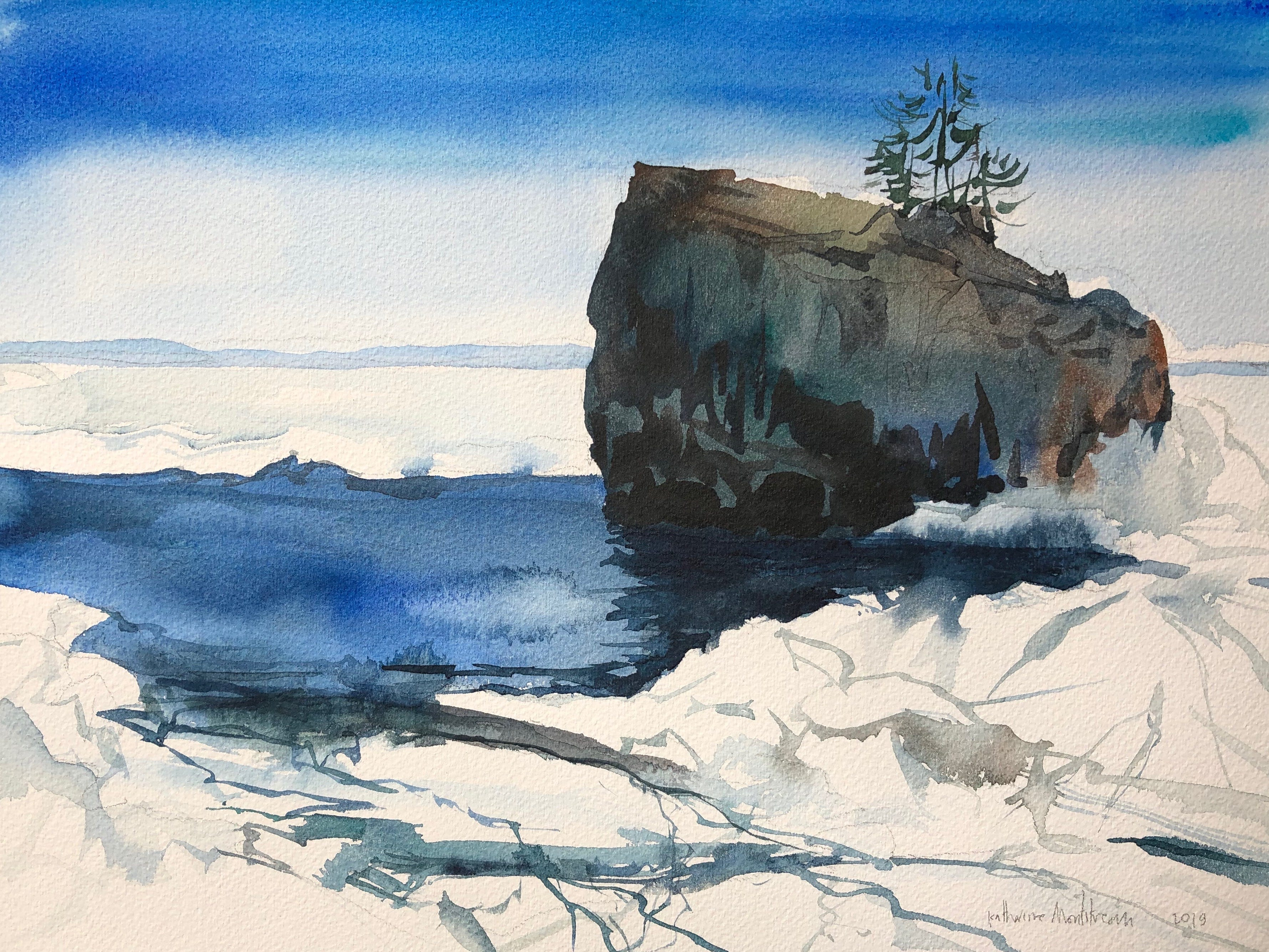 A watercolor painting by Burlington artist Katharine Montstream depicts a spot on Lake Champlain off Rock Point in late March 2019.