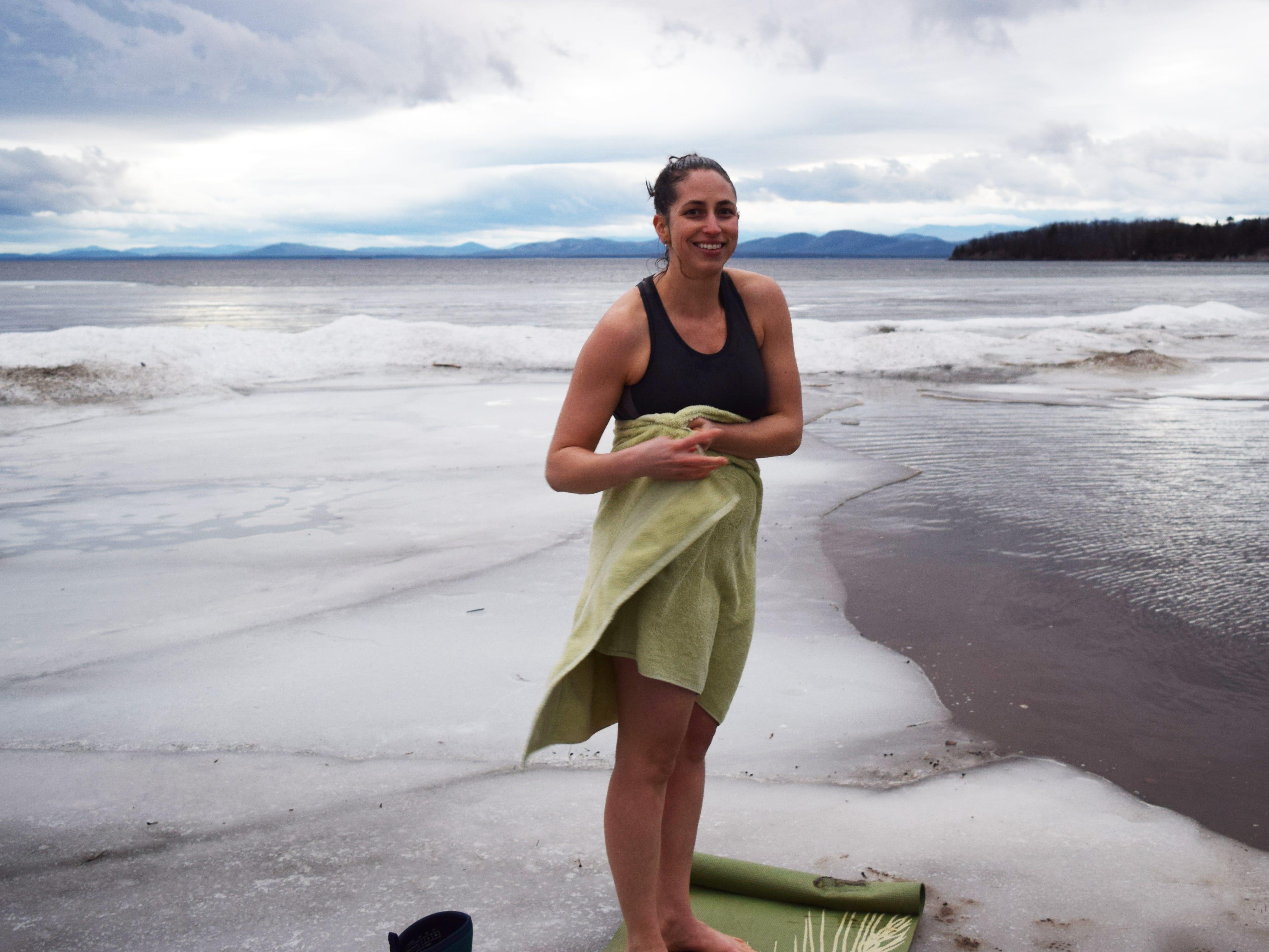 Elise Schadler of Burlington prepares to take a full-body dip in Lake Champlain on Feb. 21, 2018.