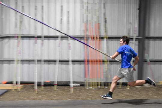 Tyler Rittiman runs during pole vaulting practice, Wednesday, April 24, 2019. This will be Rittiman's fourth trip to the region meet.