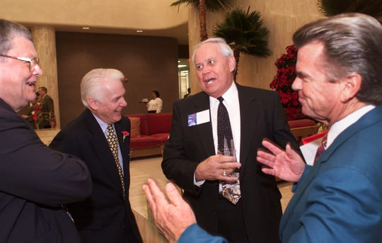 Ed Hicks, center, speaks with Joe Cook, far left, Ch. 3 General Manager Bob White, second from left, and KIII Owner Mike McKinnon in this 2012 photo. Hicks died Thursday, April 25, 2019, just days shy of his 85th birthday.