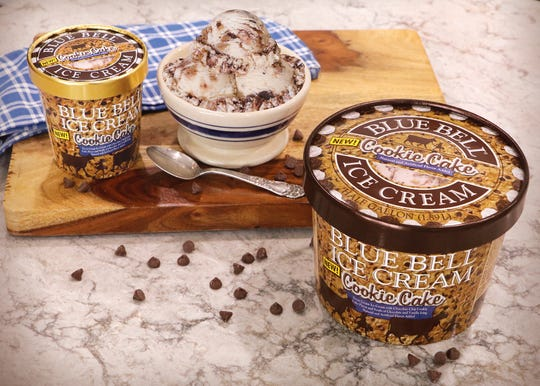 "Blue Bell's newest flavor ""Cookie Cake"" is now available in stores."