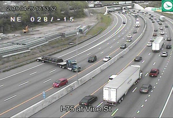 A semi is blocking all lanes of southbound Interstate 75 north of Mitchell Avenue