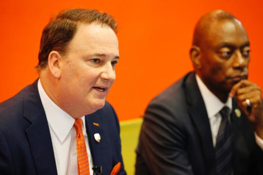 "FC Cincinnati President Jeff Berding and former mayor Mark Mallory speak before ""media round table"" on Thursday, April 25."