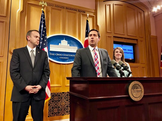 """Sen. Nathan Manning, R-North Ridgeville; Ohio Secretary of State Frank LaRose; and Rep. Bride Rose Sweeney, D-Cleveland announced Wednesday they are working on legislation to automate voter registration and move Ohio toward an """"opt-out"""" system."""