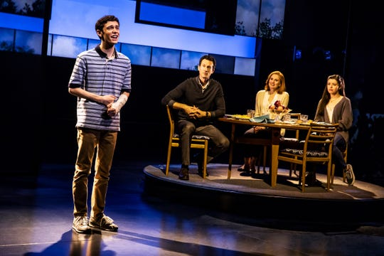 """(From left) Ben Levi Ross (as Evan Hansen), Aaron Lazar (Larry Murphy), Christiane Noll (Cynthia Murphy) and Maggie McKenna (Zoe Murphy) are featured in the North American tour of """"Dear Evan Hansen,"""" which won several Tony Awards, including on the Best Musical. The show runs April 30-May 12 at the Aronoff Center as part of the Broadway in Cincinnati series."""