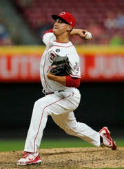 Cincinnati Reds starting pitcher Robert Stephenson (55) delivers a pitch in the ninth inning of the MLB National League game between the Cincinnati Reds and the Atlanta Braves at Great American Ball Park in downtown Cincinnati on Wednesday, April 24, 2019 The Reds fell 3-1 to the Braves.