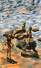 "Vicky Gu's piece, ""Malibu Bathers"" (oil on canvas), was inspired by her teacher's prompt to paint a scene as if the student were collaborating with another contemporary painter."