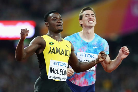 Omar McLeod of Jamaica crosses the finish line to win the men's 110-meter hurdles at the 2017 IAAF World Athletics Championships in London. McLeod, a 2016 gold medalist and a two-time special event winner at the Drake Relays