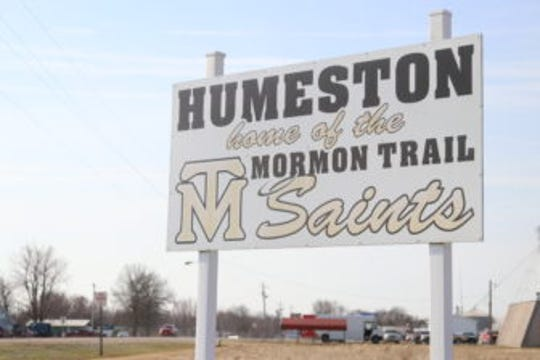 A sign welcomes visitors to Humeston, a town of just shy of 500 people in southern Iowa.