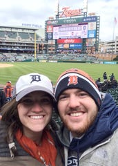 Hannah Pearson, left, and her husband Cole Pearson at the Detroit Tigers' Opening Day weekend game against the New York Yankees on April 9, 2016.