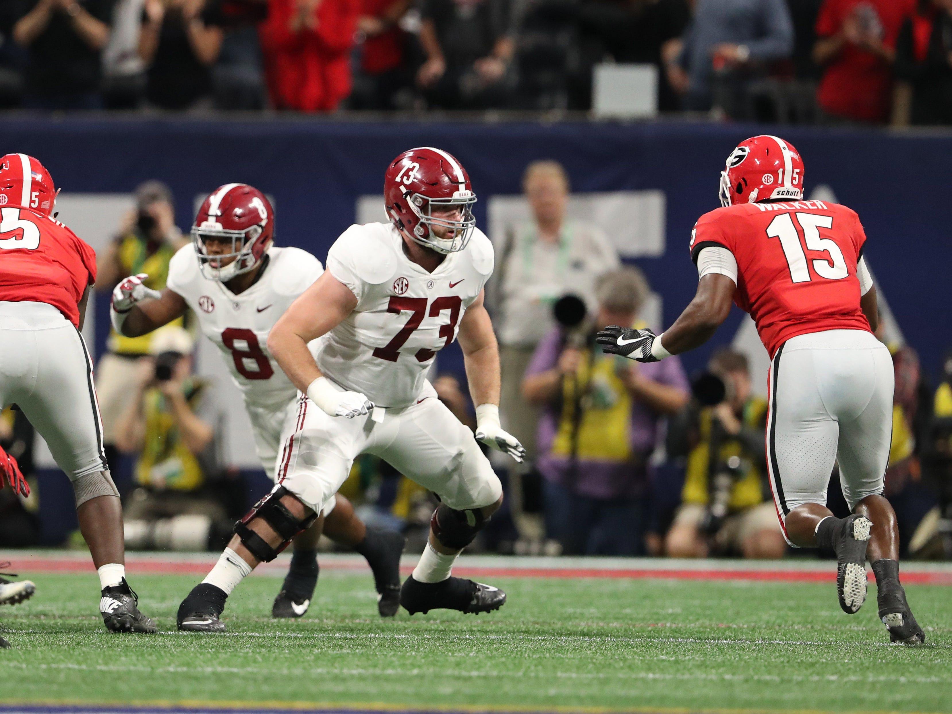Alabama offensive lineman Jonah Williams blocks Georgia linebacker D'Andre Walker during the SEC championship game at Mercedes-Benz Stadium, Dec. 1, 2018.