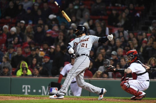 Detroit Tigers center fielder JaCoby Jones breaks his bat during the seventh inning against the Boston Red Sox at Fenway Park, April 23, 2019, in Boston.