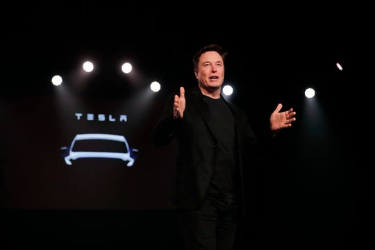 Tesla Inc. CEO Elon Musk speaks last month before unveiling the Silicon Valley automaker's Model Y at its design studio in Hawthorne, Calif.