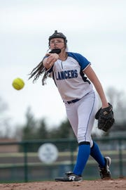 Pitcher Brooke Nadolny of Harrison Township L'Anse Creuse throws against St. Clair Shores Lakeview on Thursday.