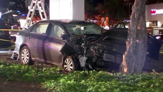 Image from KGO-TV shows the scene of a car crash where several pedestrians were struck and injured in Sunnyvale, Calif.