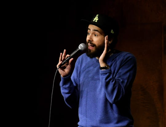 Comedian Ramy Youssef performs at Mark Ridley's Comedy Castle in Royal Oak, Mich. on April 23, 2019.  (Robin Buckson / The Detroit News)