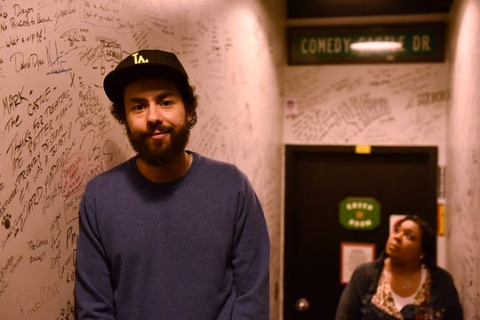 Ramy Youssef backstage after his performance at Mark Ridley's Comedy Castle in Royal Oak, Mich. on April 23, 2019.  (Robin Buckson / The Detroit News)