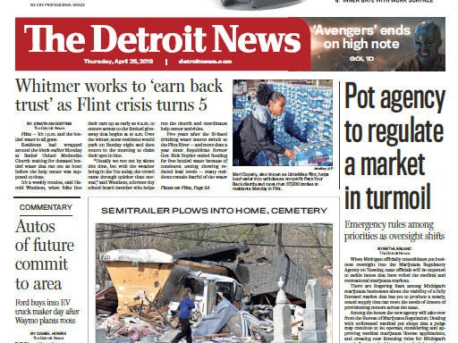 Front page of  The Detroit News on Thursday, April 25, 2019.