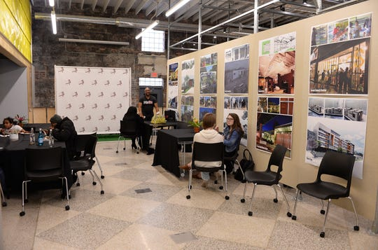 A view of the Detroit Collaborative Design Center work space inside the Neighborhood HomeBase center.