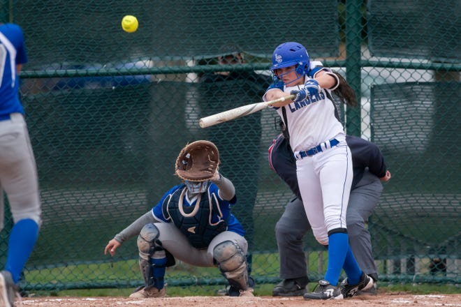 Brooke Nadolny of Harrison Township L'Anse Creuse hits a home run against St. Clair Shores Lakeview on Thursday.