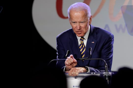 In this March 26, 2019, file photo, former Vice President Joe Biden speaks at the Biden Courage Awards in New York.