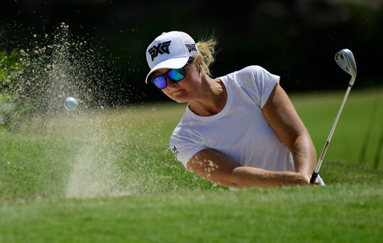 Anna Nordqvist hits out of a bunker on the fourth hole during the first round of the HUGEL-Air Premia LA Open on Thursday.