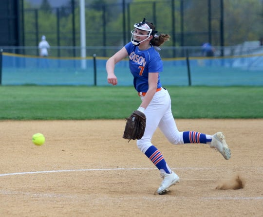 Bella Willsey pitches for Thomas A. Edison against  Waverly on April 25, 2019 at Cohen Elementary School in Elmira Heights.