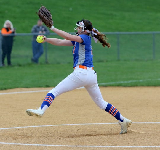 Bella Willsey delivers a pitch for Thomas A. Edison against Waverly on April 25, 2019 at Cohen Elementary School in Elmira Heights.
