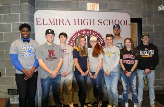 Elmira High school seniors who signed April 25, 2019, from left: Markel Jenkins, Ryan Stowell, Drew Cartwright, Tess Arnold, Caylee Boorse, Mariano Casciotti, Theo Summerville, Taeli Quanz and Randy Beach.