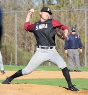 Chris Mattoon of Elmira delivers a pitch on his way to a five-hitter in a 5-0 win over Corning in baseball April 24, 2019 at Ernie Davis Academy.