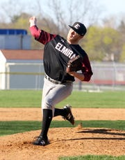 Chris Mattoon delivers a pitch for Elmira on his way to a five-hitter in a 5-0 win over Corning on April 24, 2019 at Ernie Davis Academy.