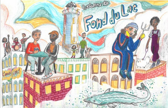 "The mural's artist stated he or she wanted to show various kinds of people being people, while including ""classic Fond du Lac things,"" in it."