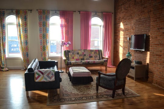 Kathy Pietrowski said people like Airbnbs like hers, shown here, because amenities like a kitchen and washer and dryer make the rental feel like home. Pietrowski's Airbnb is located above her shop, Perfectly Pink Fabric & More in downtown Elmore.