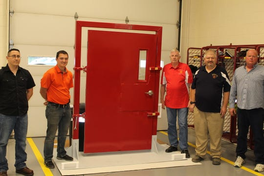 The Sandusky County Firefighters Association unveiled its new forcible entry training door Wednesday at Clyde's Fire Station No. 2.