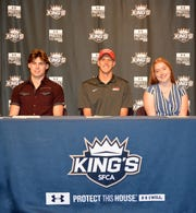 SFCA seniors Bryce Santarelli (North Central College, football), Isaiah Paulec (Southeastern University, track and field) and Paige Flint (Southwest Virginia Community College, volleyball) signed their letters of intent at a ceremony on campus on Wednesday.