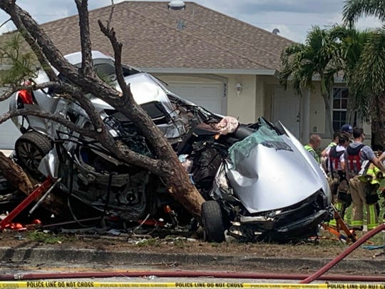 Emergency personnel responded to a serious, two-vehicle crash along Hancock Bridge Parkway at Cultural Park Boulevard in Cape Coral on Thursday, April 25, 2019.