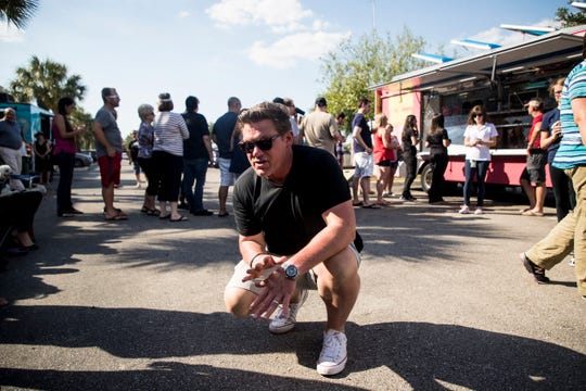 Tyler Florence of Food Network's 'The Great Food Truck Race' films a spot at an event at Fort Myers Brewing Co. on Wednesday, April 24, 2019.