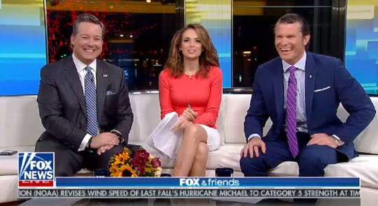 """A segment of """"Fox & Friends"""" will be filmed at The Pancake Place in Green Bay Sunday.   Pictured from left to right is Ed Henry, """"Fox & Friends"""" guest co-host; and """"Fox & Friends Weekend"""" co-hosts Jedediah Bila and Pete Hegseth."""