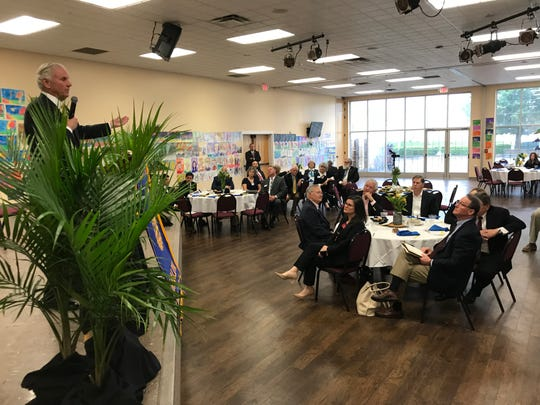Gov. Henry McMaster speaks to about 100 Rotarians gathered for lunch Thursday, April 25, 2019, at Mauldin First Baptist Church in Mauldin, South Carolina.