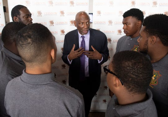 Geoffrey Canada speaks members of the group, Men of Distinction, during Clemson University's Men of Color National Summit at the Greenville Convention Center Thursday, April 25, 2019. The Men of Distinction are a male mentoring group at Eau Claire High School in Columbia, S.C.