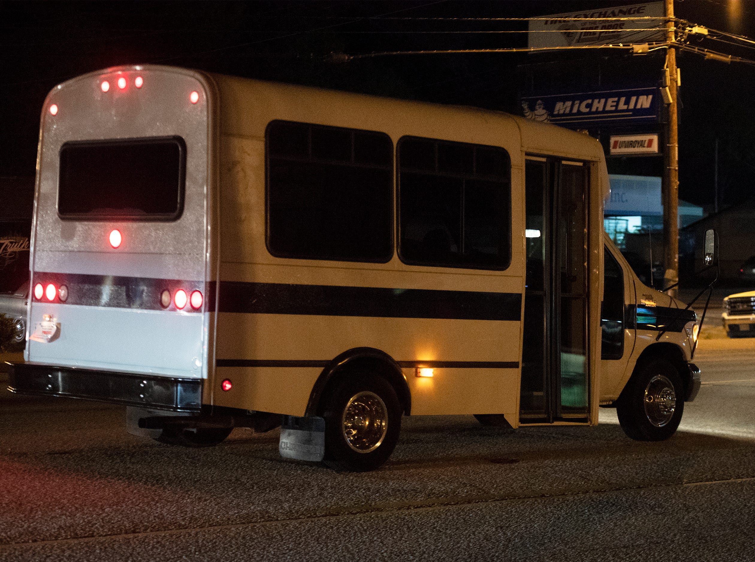 A shuttle bus is provided to bring people to and from off-site parking lots for Club Epic Friday, April 12, 2019.