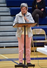 """""""Water is our life,"""" Lita Sharone testified during a meeting on the Black Butte Copper Project Wednesday in Great Falls."""