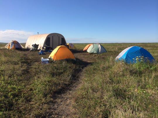 Tent camp set up at Graveyard Point in Bristol Bay.