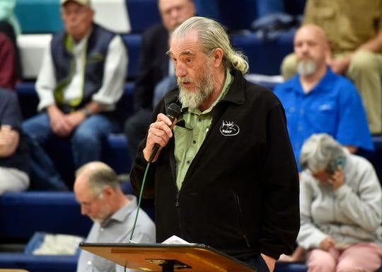 Curtis Thompson of Cascade County was one of 12 people who spoke against a proposed copper mine north of White Sulphur Springs during a public hearing in Great Falls. He's worried about the mine's impact on water.