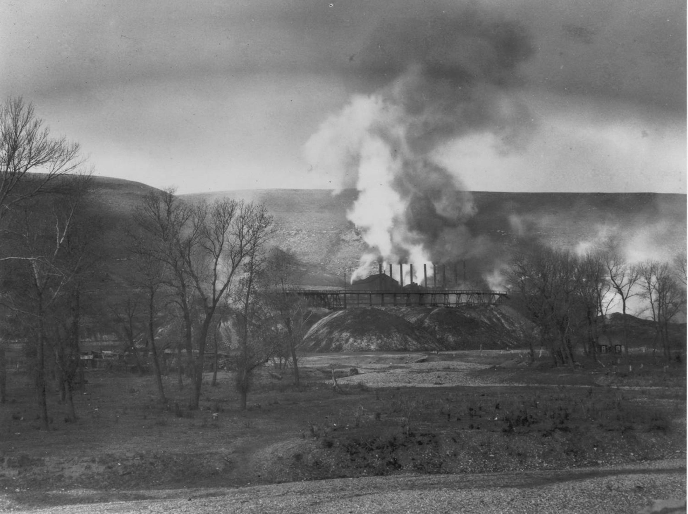 Coke Oven Flats at the Belt Mine in 1896. Coal from the mine was placed in ovens to make coke that was burned at the smelter in Great Falls.