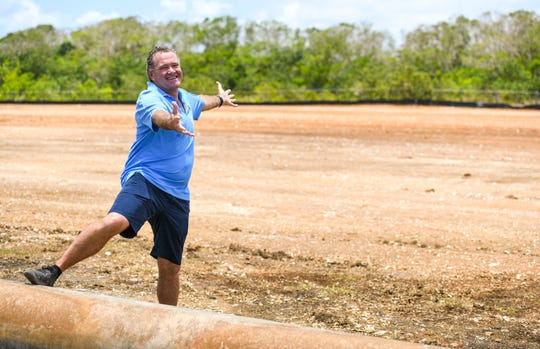 Torgun Smith, Guam National Tennis Federation president, happily welcomes the start of construction for the new Guam National Tennis Center in Dededo, on April 25, 2019. The new complex is slated to be completed later this year, in July.